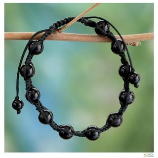 Handcrafted 'Oneness' Onyx Bracelet (India)