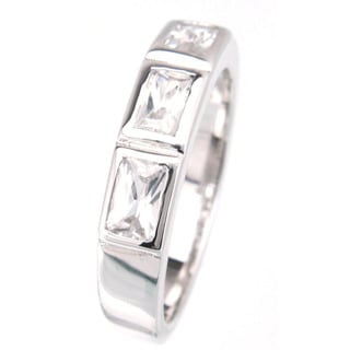 Plutus Platinum over Sterling Silver Cubic Zirconia Fashion Band