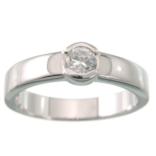 Plutus Platinum over Sterling Silver Round Cubic Zirconia Band