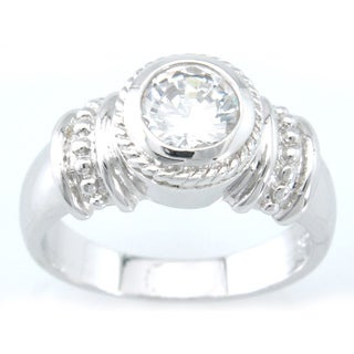 Plutus Platinum over Sterling Silver Cubic Zirconia Engagement-style Ring