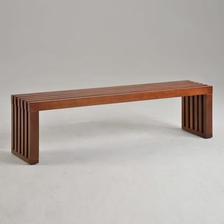 Walnut Finish 60-inch Slat Bench