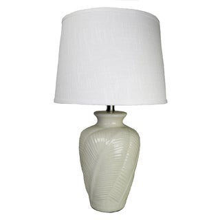 Off-white Leaf Embellished Ceramic Table Lamp