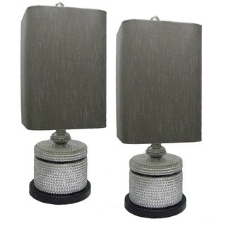 JT Lighting Grey/ Silver Table Lamps (Set of 2)