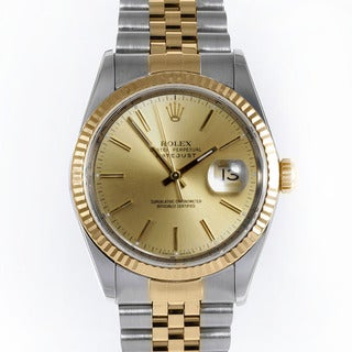Pre-owned Rolex Men's Two-tone Water-resistant Datejust Watch