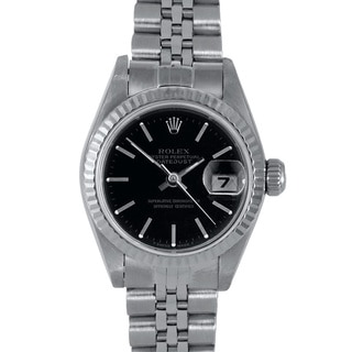 Pre-Owned Rolex Women's Black Dial Jubilee Stainless Steel Datejust Bracelet Watch