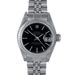 Black Dial Jubilee Bracelet Pre-owned Rolex Women's Stainless Steel Datejust Watch