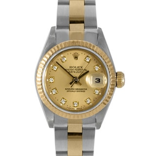 Pre-owned Rolex Women's 18k Gold Two-tone Diamond Datejust Watch