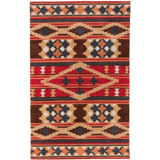 Dick Idol Hand-tufted Red/Brown Southwestern Aztec Perana Wool Rug