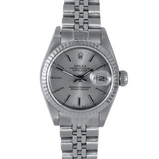 Silver Dial Jubilee Stainless Crown Pre-owned Rolex Women's Stainless Steel Datejust Watch