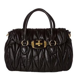 Miu Miu 'Matelasse' Black Leather Turn-lock Satchel