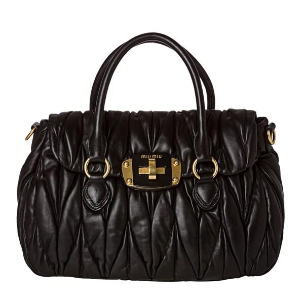 Miu Miu 'Matelasse' Black Leather Turn-lock Satchel