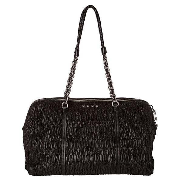 Miu Miu 'Cloquet' Black Nappa Leather Shoulder Bag