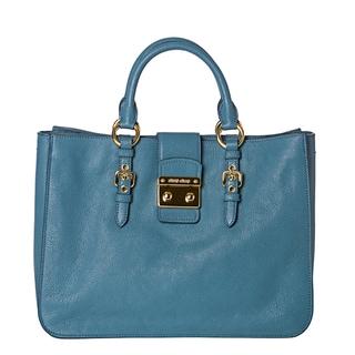 Miu Miu 'Madras' Sky Blue Leather Push-Lock Satchel Bag