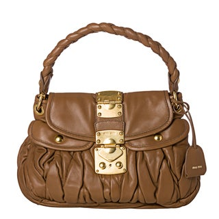 Miu Miu 'Matelasse Coffer' Small Camel Leather Satchel