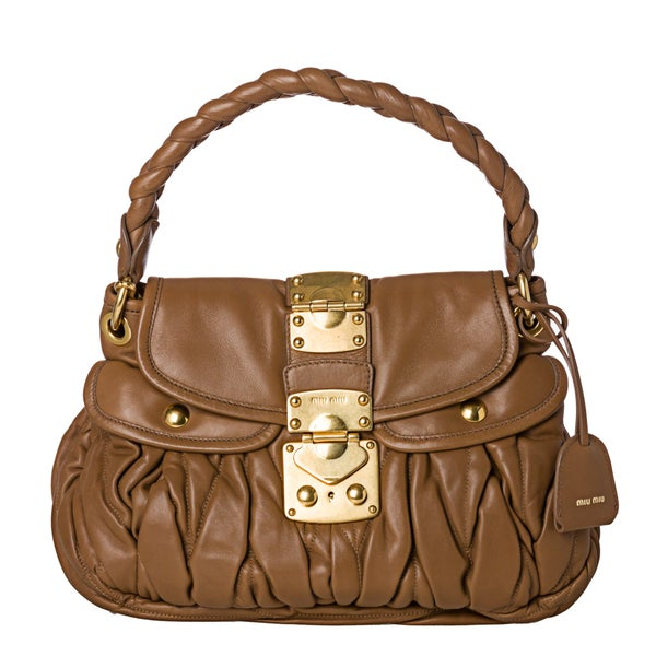 Miu Miu 'Matelasse Coffer' Small Camel Leather Satchel