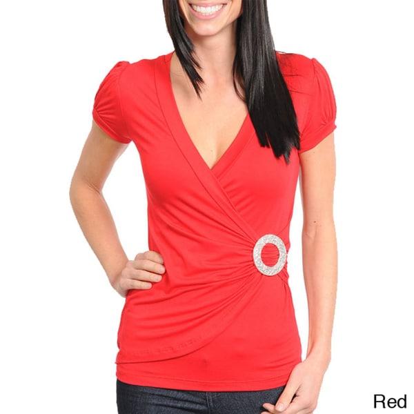 Stanzino Women's Cap Sleeve Wrap Top