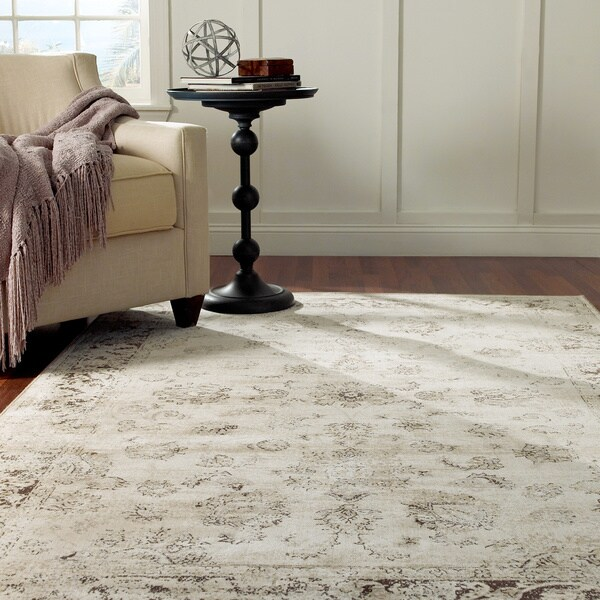 Nuloom oriental vintage viscose persian natural area rug for 7x9 bathroom designs