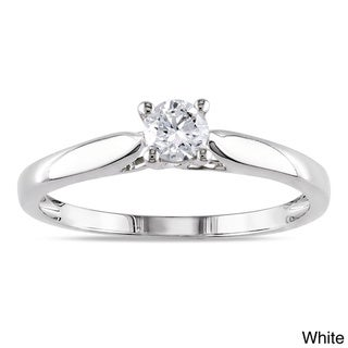 Miadora 14k White or Yellow Gold 1/4ct TDW Round Diamond Solitaire Ring (H-I, I2-I3)