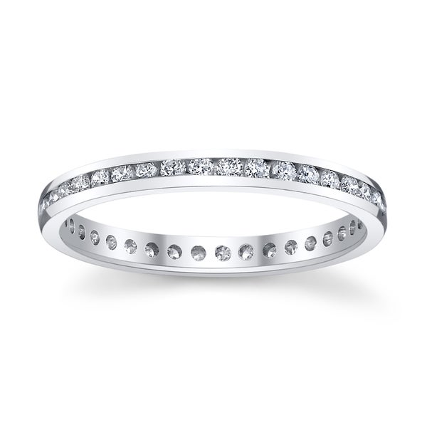 14k White Gold 1/2ct TDW Diamond Eternity Wedding Band (H-I, SI1-SI2)