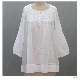 Cotton 'Romantic White' Beaded Blouse (India)