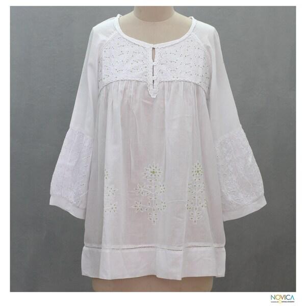 Cotton 'Romantic White' Beaded Blouse (India)