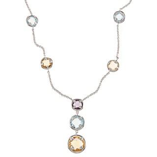 La Preciosa Sterling Silver Blue Topaz, Citrine and Amethyst Y Necklace