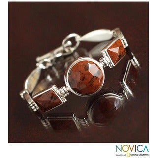 Sterling Silver 'Magnificent' Mahogany Obsidian Bracelet (Peru)