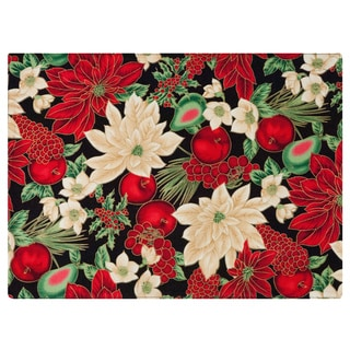 Black Placemat by Rose Tree 'Holiday Blooms' Placemats (Set of 6)