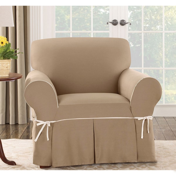 Sure Fit Cocoa Duck Chair Slipcover in Maize/ Natural(As Is Item)