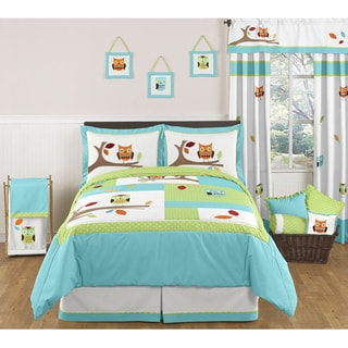 Turquoise and Lime Hooty 4-piece Bedding Set