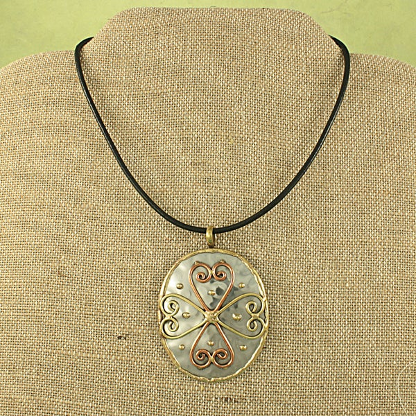 Handcrafted Copper and Brass Cross Necklace (India)
