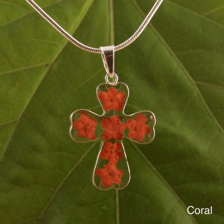 Sterling Silver Red Mini Flower Cross Necklace (Mexico)