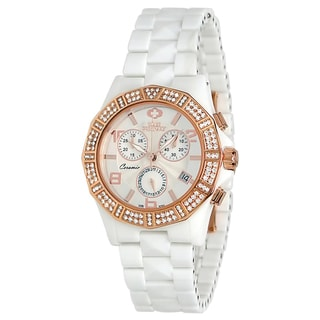 Swiss Precimax Women's Ceramic 'Luxe Elite' Chronograph Watch