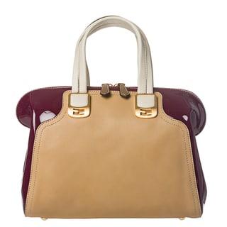 Fendi 'Chameleon' Cherry/ Tan Color-block Leather Satchel
