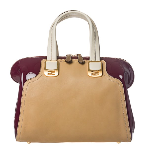 Fendi 'Chameleon' Cherry/ Tan Color-block Leather Satchel