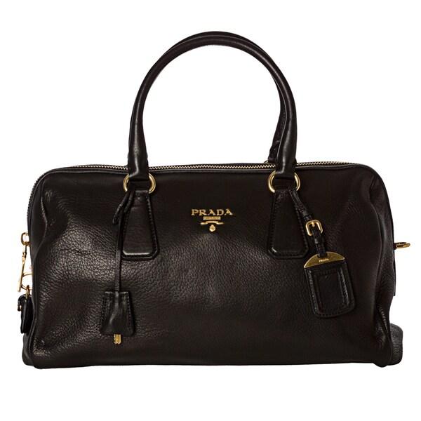 Prada 'Cervo' Black Leather Bowler Bag