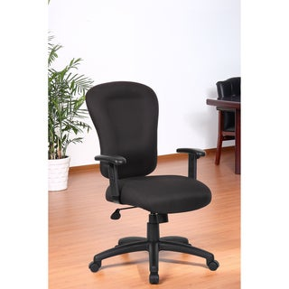 Aragon Black Memory Foam Task Chair with Adjustable Arms