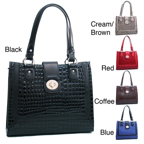 Dasein Boxy Croco-embossed Tote Bag