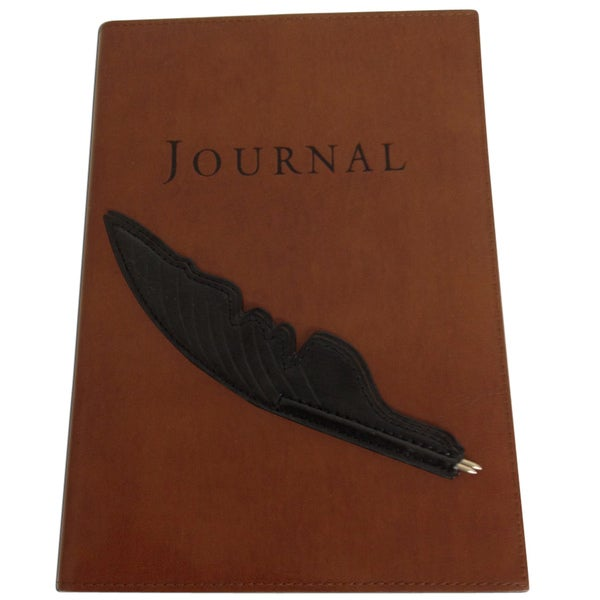 Ensign Brown Bonded Leather Journal with Black Feather Pen