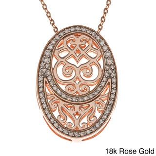 Beverly Hills Charm Plated Silver Cubic Zirconia Oval Medallion Necklace
