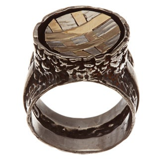 Beverly Hills Charm Silver and 14k Yellow Gold Crosshatch Design Ring
