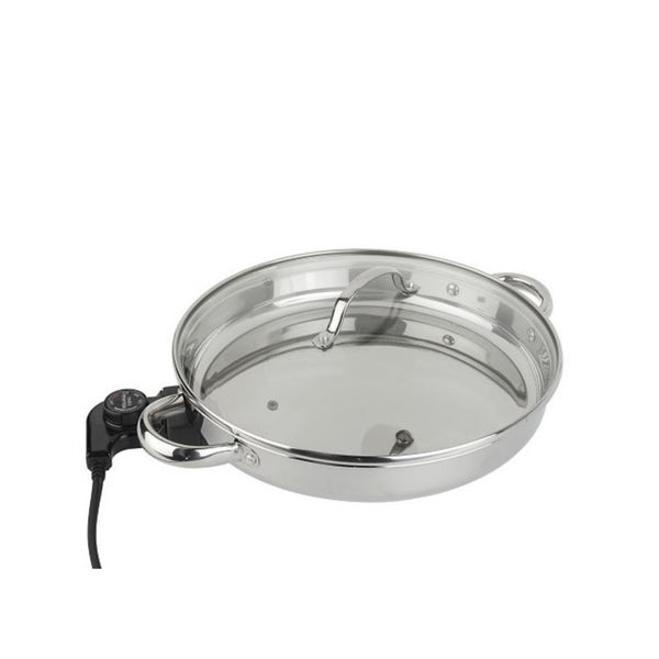 Cook's Essentials 12-inch Round Stainless Steel Electric Skillet (Refurbished)