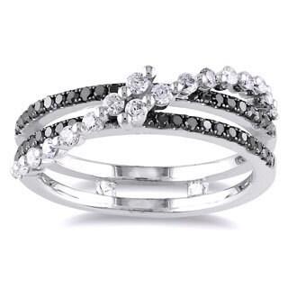 Miadora 14k White Gold 1/2ct TDW Black and White Diamond Ring (G-H, I1-I2)