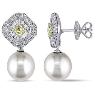 Miadora Signature Collection 18k White Gold South Sea Pearl and 1 3/4ct TDW Diamond Earrings
