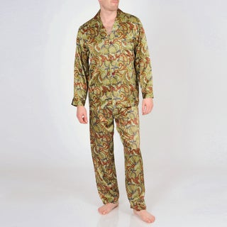 Majestic Sterling Men's Printed Silk Pajama Set