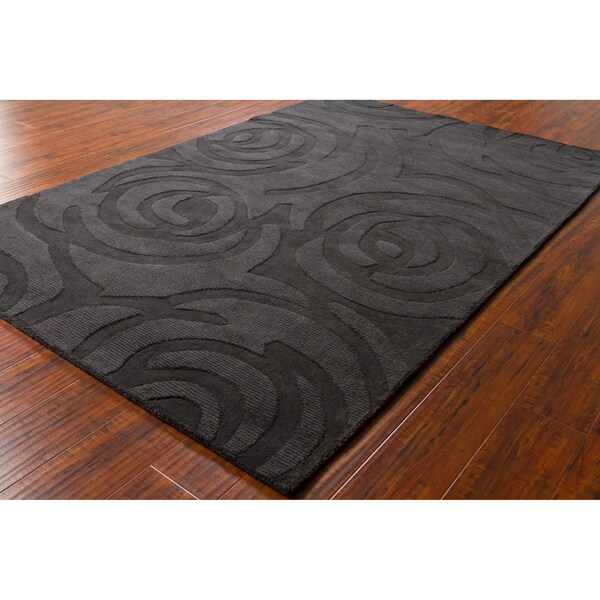 Mandara Hand-tufted Geometric Black Wool Rug (5' x 7'6)