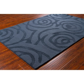 Mandara Hand-Tufted Contemporary Geometric Blue Wool Rug (5' x 7'6
