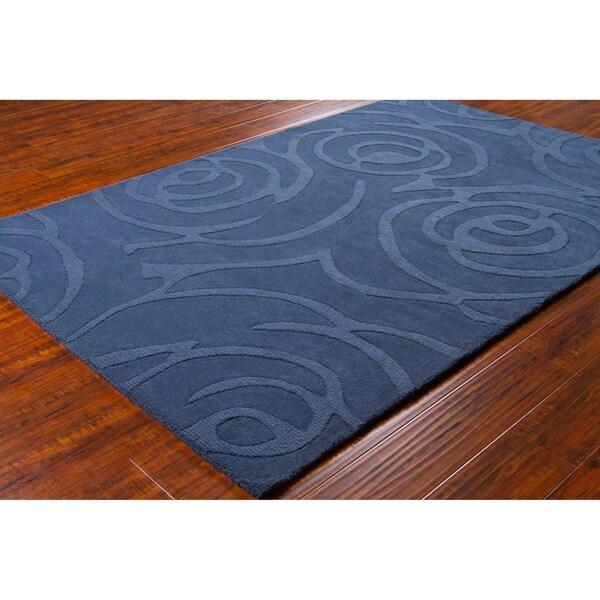 "Mandara Hand-Tufted Geometric Blue Wool Area Rug (5' x 7'6"")"