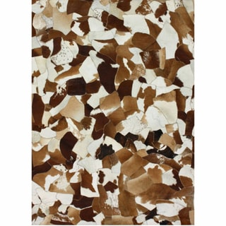 nuLOOM Handmade Stained Glass Brown Cowhide Leather Rug