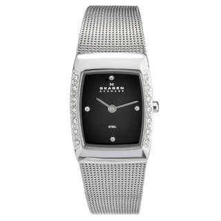 Skagen Women's Stainless Steel Rectangle Crystal Watch